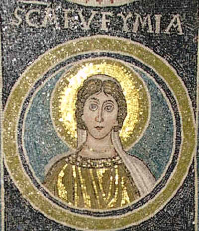 Св. Евфимия Всехвална Прехвална. Византийска мозайка от VI в. Byzantine mosaic of St. Euphemia of the 6th century. Porec, Basilica of Euphrasius. Source: vatopaidi.wordpress.com
