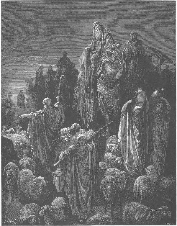 Иаков заминава за Египет. Jacob Goes to Egypt (Gen 46). Woodcut by Gustave Doré (1832-1883), catholic-resources.org
