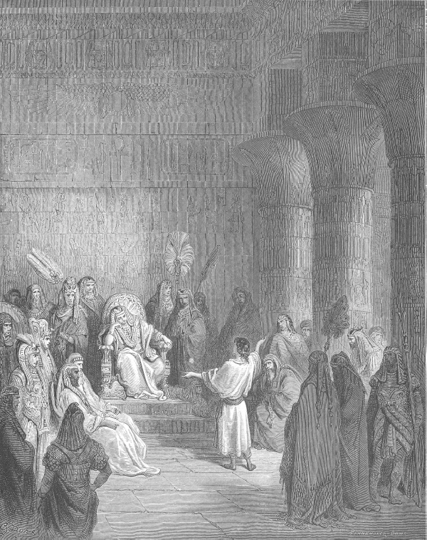 Йосиф тълкува съня на фараона (Бит. 41:25). Joseph Interprets Pharaoh's Dream (Gen 41). Woodcut by Gustave Doré (1832-1883), http://catholic-resources.org