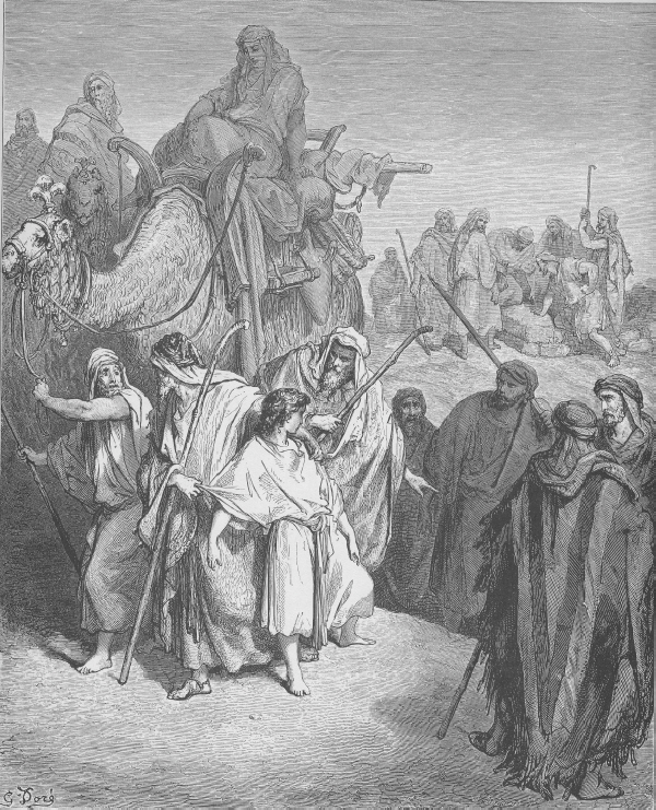 Братята на Йосиф го продават в Египет, Бит. 37:1-36. Joseph Is Sold by His Brothers (Gen 37 ). Woodcut by Gustave Doré (1832-1883), http://catholic-resources.org